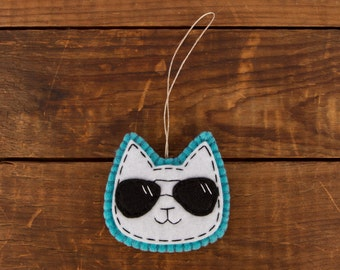 Wool Felt White Cat in Aviator Shades Hanging Ornament/Decor