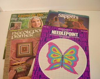 Needlepoint, Knitting And Crochet Booklets