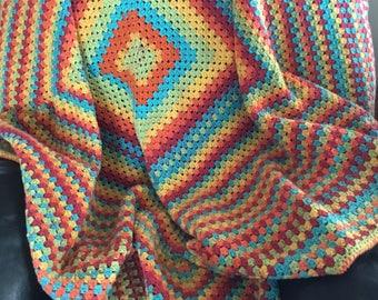 Crochet rainbow granny square blanket afghan