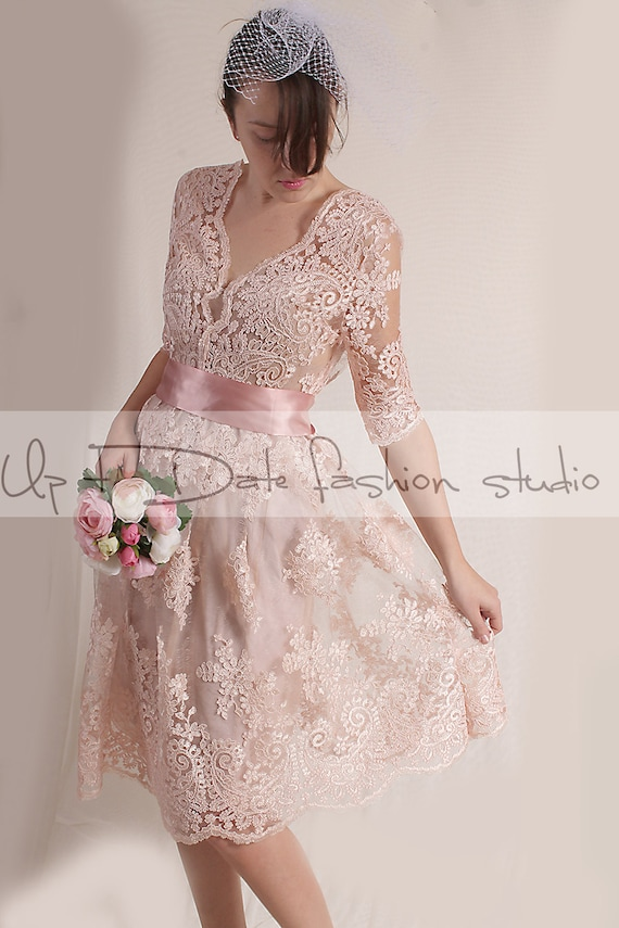 Plus Size blush pink party /evening /Cocktail /lace dress/