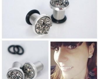 """Druzy Ear Plugs 8g 6g 4g 2g 0g 00g 7/16"""" Cute Gauges 3mm 4mm 6mm 8mm 10mm"""