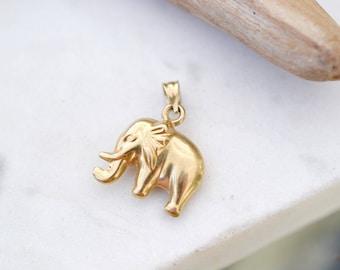 14k Yellow Gold Elephant Pendant, 14k Elephant, 14k Gold Elephant Jewelry, Save the Elephants Jewelry, Yellow Gold Elephant Charm