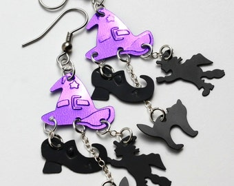 Halloween Earrings Witch Earrings Black & Purple Wicked Witch Dangles Plastic Sequin Jewelry