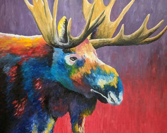 Moose Bust oil painting