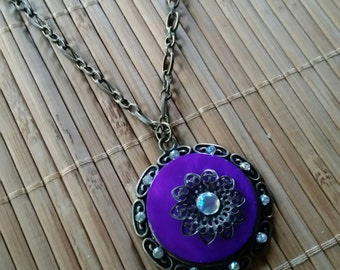 Dahlia Necklace in Antique Brass w/Purple Rhinestone Pendant-Big-Simple-floral-Vintage-Romantic-Country-Woodland-Fantasy-Flower-Earthy