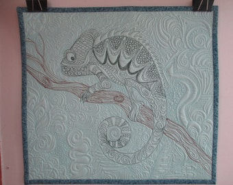 Quilted Tattoo Chameleon Wall Hanging with Graffiti Background