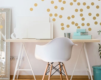 Gold Polka Dot Wall Decals - Metallic Polka Dot Wall Decals for Nursery - Peel and Stick - Confetti Dots Decal - WBDOTS