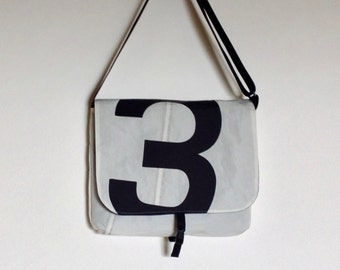 Recycled Sail Cloth Messenger Bag - Black Number 3