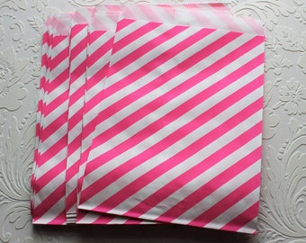 Hot Pink and White Striped Paper Bag- Gift Bag, Notion Bag, Party Favor, Party Supply, Shop Supply, Treat Bag, Merchandise Bags