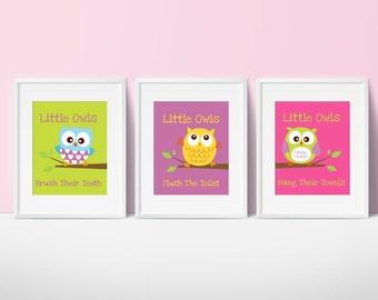 Owl Bathroom Decor, Kids Bathroom Decor, Bathroom Wall Art
