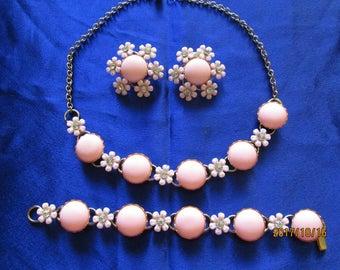 Vintage 1960s mod Flower power pink petal 3pc set