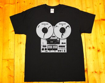 Retro tape recorder, reel-to-reel, stereo tape deck, pioneer, Shoegazer - screen printed T-shirt