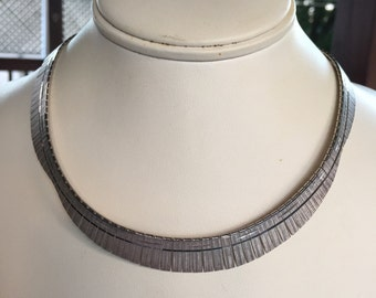Vintage Sterling Silver Egyptian Collar Style Necklace 925 SU Italy
