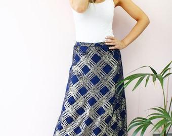 Vintage 80's Retro Navy Blue Gold Metallic Lattice Print A Line Midi Skirt