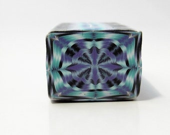 Polymer Clay Kaleidoscope Unbaked Square Cane in Purple, Aqua and Black, Raw, Millefiori