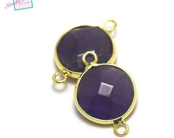 "1 thin ""faceted""puck round Amethyst gemstone connector 24 x 16 x 7 mm, gold"