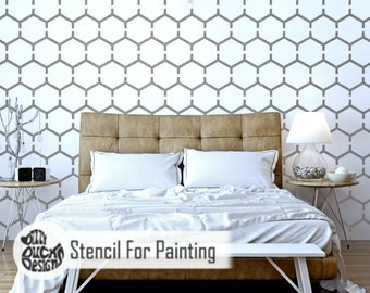 HONEYCOMB STENCIL - Modern Hexagaon Wall Furniture Craft Floor Stencil for Painting - HONE01