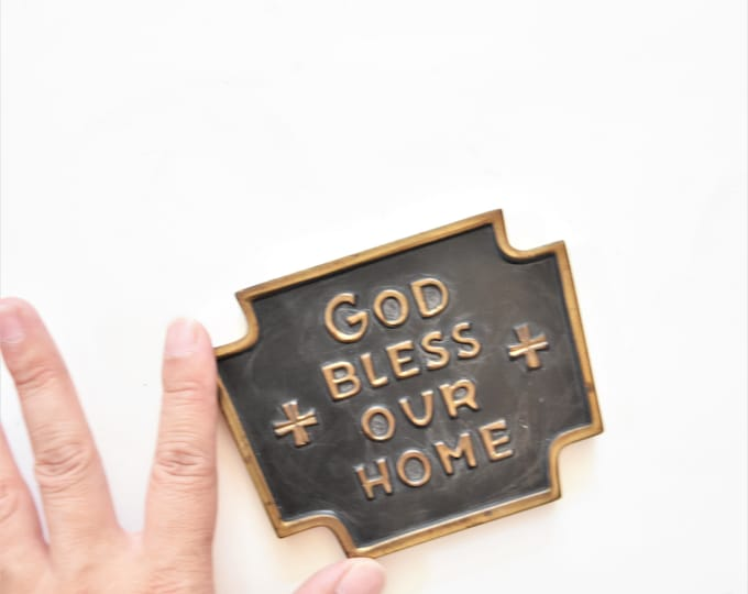 brass gold bless our home office paperweight / house warming gift