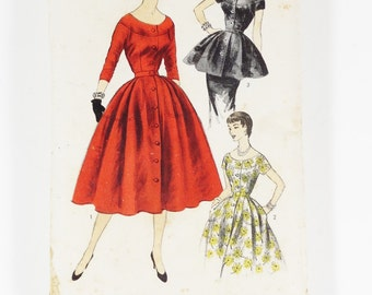 Advance 6956 - Misses Dress or Tunic Dress - Vintage 1950s Pattern - Size 14 - Bust 32