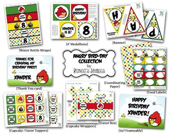 BIRDS COLLECTION - Printable Collection - Customized - Angry Birthday - DIY Party Printables