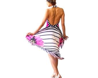 Argentine tango dance dress, halter neck dress. Backless ballroom dress. Low back wedding guest dress. High low milonga dress. Dancewear.