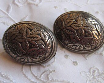 Vintage Silver Tone Large Domed Oval Clip On Earrings with Leaf Pattern
