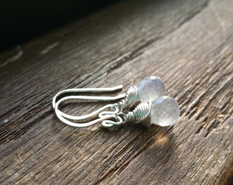 Choose Your Metal - Moonstone Drops: Sterling Silver or Gold Wrapped Faceted Blue Flash Moonstone Teardrop Briolette Earrings Gift