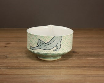Yoga Cat Bowl| Pet Pottery| Gift for the Cat Lover| Yoga Cat