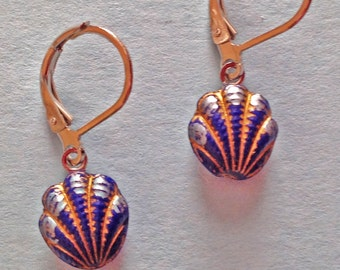 1800s Glass Shell Button Earrings