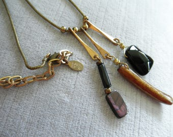 Vintage Marjorie Baer Necklace, Mixed Metal & Materials, Dangles on Chain, MB SF