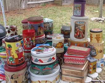 Lot of 56 tin boxes-advertising tins - Mostly modern and some vintage