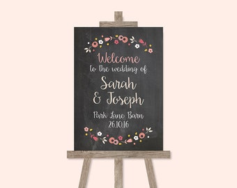 Berry Floral Chalkboard Welcome Wedding Sign