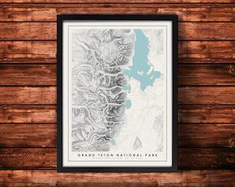 Grand Teton National Park Topographic Map Art Print   Grand Teton Print   Grand Teton Artwork   Topographic Art