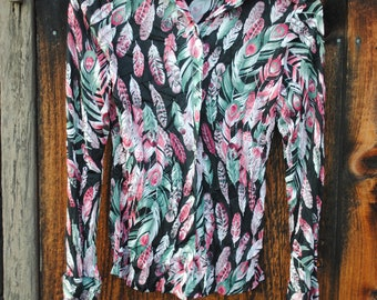 90s Style Fantasy Feather Novelty Print Seventies Shirt
