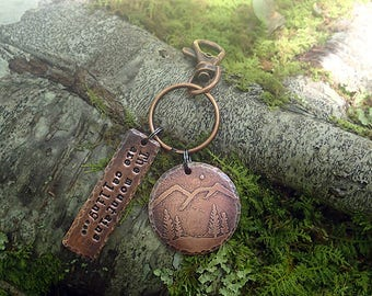 The Mountains Are Calling Keychain - Mountains Keychain - Hand Stamped Copper Mountain Keychain - Hiker Gift