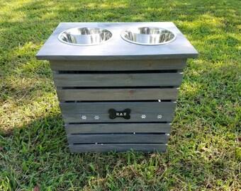 X-Large Dog Feeder with storage--Weathered  Grey
