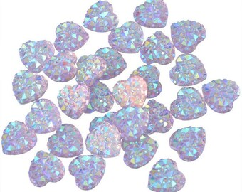 100PC light Purple Faceted Hearts Resin Flat back Cabochon Nail Art Rhinestone Clear Crystal 9.5mm Flatback Rhinestones Decoration HR3818