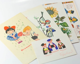 Set of 6 soviet vintage greeting cards - funny postcards for any event - retro antique made in USSR