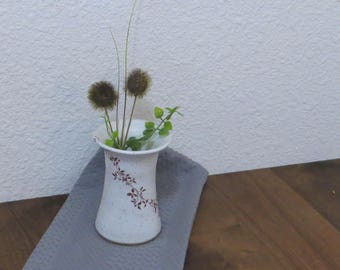 Small Vase - Handmade Stoneware Pottery Ceramic - White Satin - Vines