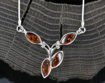 Flora orange AMBER NECKLACE sterling SILVER original baltic jewel polish jewellery jewelry fossil jurassic leaves pagan modern charm