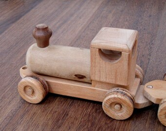 Raine the wooden train - boys and girls handcrafted wood toy - waldorf pretend play