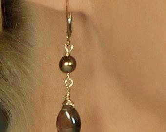Brown Earring, Smoky Quartz & Chocolate Pearl Earrings, Smoky Quartz Earring, Leverback, Brown Bridesmaid Jewelry