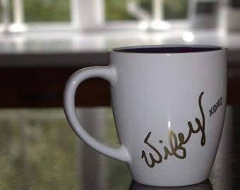 Wifey Mug, coffee lover mug, coffee mug anniversary gift, mug wedding gift, mug engagement gift, handwritten coffee mug, unique coffee mug