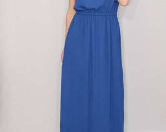 Blue bridesmaid dress Blue maxi dress Boho dress Chiffon dress Sun dress Summer dress Prom dress Keyhole dress Royal blue dress Long dress
