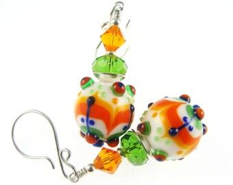 Colorful Lampwork Earrings, Multicolor Statement Earrings, Abstract Unique Earrings, Glass Bead Jewelry, Orange White Dangle Drop Earrings