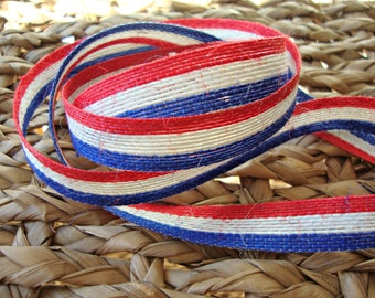 Patriotic Red White Blue Natural Jute Ribbon - 5/8 Inch