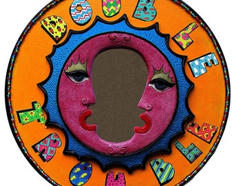 Colorful Recycled Record Mirror Art assemblage