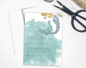 Mermaid Birthday Party Invitations. Mermaid Birthday Party. Mermaid Birthday Invites. Mermaid Birthday Invitation Printable.