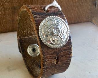 Boho tribal leather festival cuff- bracelet
