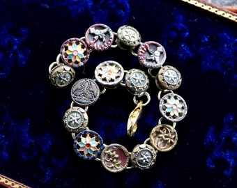 Gorgeous Metal Picture Button Bracelet, vintage, jewelry, Victorian buttons, 1800's, assemblage, up cycled, formal stunning oldnouveau